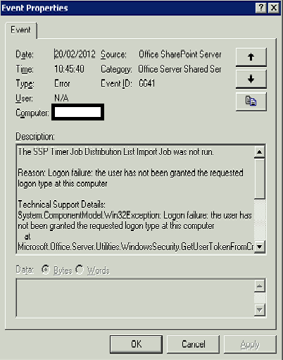 SharePoint 2007 6641 Errors : Logon Type 4 | SharePoint (and
