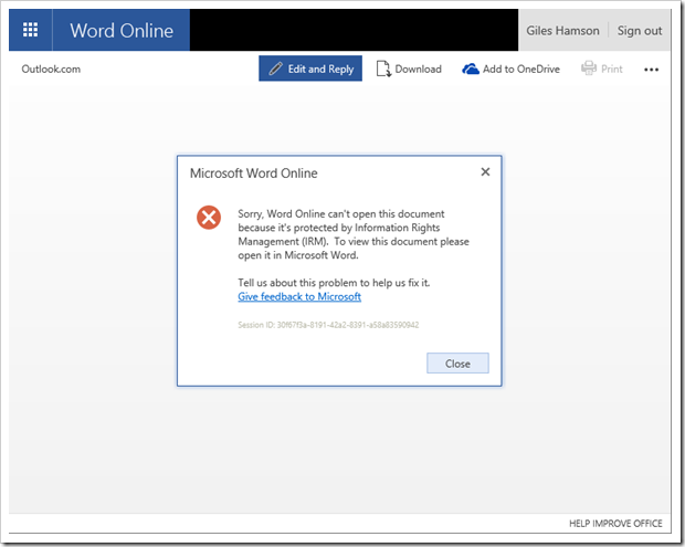 cannot edit word document online